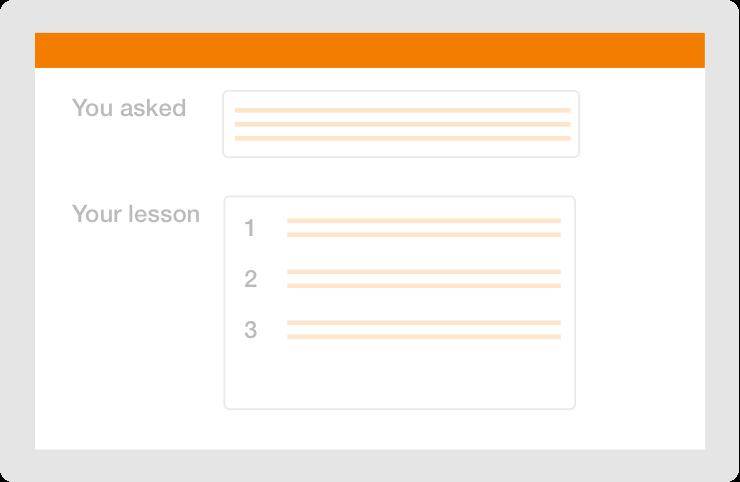 written lesson interface