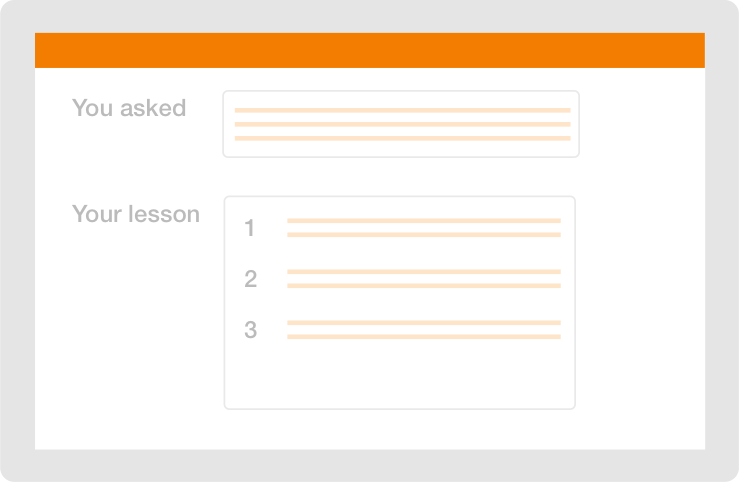 written lesson interface